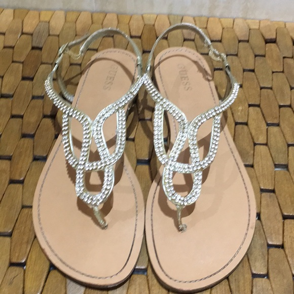 385389908855 Guess Shoes - Gold Rhinestone Guess Sandals